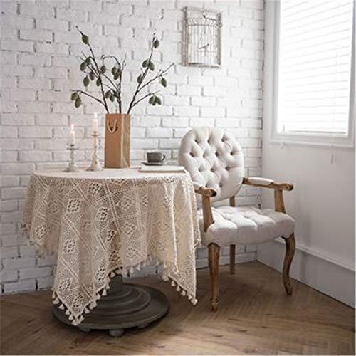 XYAZ Pastorale handgemachte häkeln Abdeckung Handtuch Baumwolle Tischdecke gewebt Tischdecke Durchbrochene Tischdecke Tischdecke Klavier Handtuch schießen Requisiten Beige 2 (Papier-handtuch-halter Herz Mit)