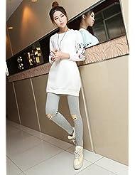 &zhou Moda otoño/invierno bordado leggins pantalones Dama , gray ,