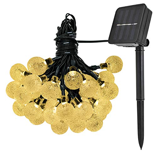 Solar Lichterkette Weihnachten Dekoration Außen Easternstar, 6m 30 kugel LED Außenlichterkette Wasserdicht perfekte Deko für Garten, Haus Dekoration, Hochzeit, Weihnachten (warmweißes Licht)