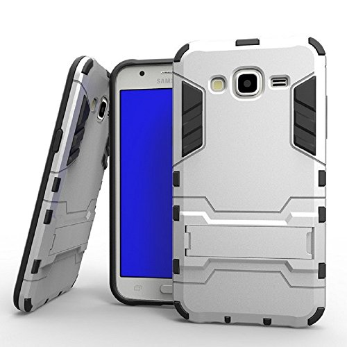 Heartly Samsung Galaxy J7 SM-J700F (2015) Back Cover Graphic Kickstand Hard Dual Rugged Armor Hybrid Bumper Case - Champagne Silver