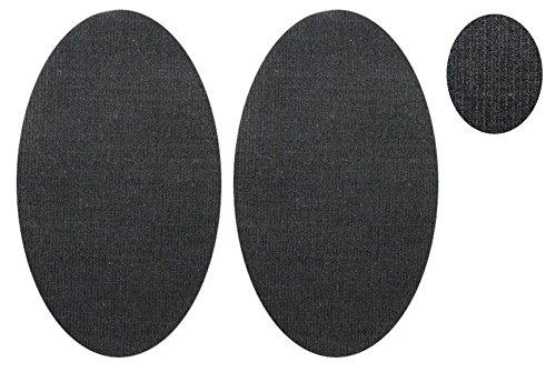 alles-meine.de GmbH 2 TLG. Set: ovaler Flicken - dunkel grau Cord 9,5 cm * 16 cm Bügelbild Aufnäher Applikation Stoff - Grau Cord