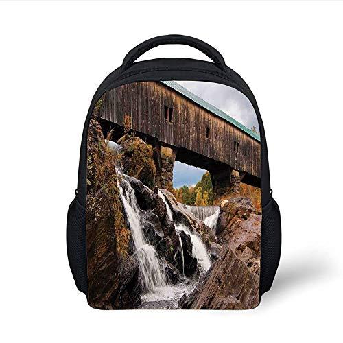 Cascading Rock (Kids School Backpack Landscape,Old Rustic Oak Covered Bridge Over Cascading Waterfalls Rock Fall Season American City,Brown Plain Bookbag Travel Daypack)