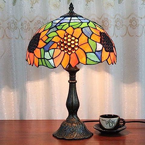 Gweat 12 pollici epoca di lusso creativo Girasole Tiffany Lampada da tavolo Lampada da comodino Desk Lamp Lampada per bambini