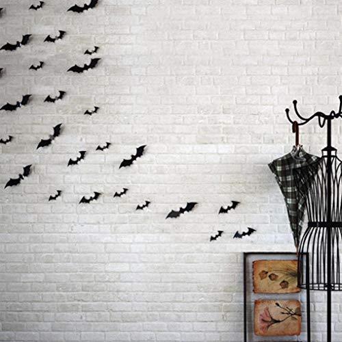 VEMOW Halloween Cosplay Party Dekoration 5 Set Schwarz 3D DIY PVC Bat Aufkleber Home Wandaufkleber 16x4cm(Schwarz, 16x4cm)
