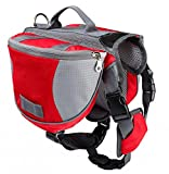 Hunderucksack für Große Hunde Reisen Camping Wandern Satteltasche Hundegeschirr Backpack Rot M