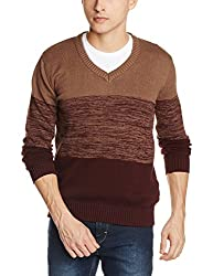 Indian terrain Mens Cotton Sweater (8907190512530_ITA15SWK296_Caramel_S_Long sleeve)