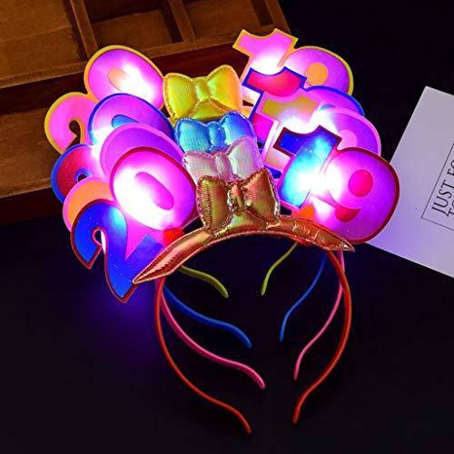 Cuigu 2019 Haarband, Blinkende LED Leuchten Haarband Stirnband Haarbänder Haarschmuck, Glow Christmas New Year Party Supplies, Zufällige Farbe