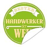Bester Handwerker | Aufkleber | rund | 9,5 cm | Personalisieren Sie Ihr Geschenk mit einem tollen Aufkeber | inkl. Postkarte Alles Gute | Geschenkidee für Handwerker