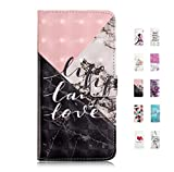 UCool Coque Housse pour Samsung Galaxy A8 2018 Portefeuille Flip Clapet Case Cuir PU Etui Cover Marbre Noir Blanc + Rose 3D Motif Dessin pour Femme Bumper 360 Degres Incassable Antichoc