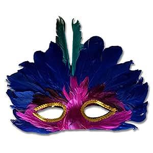 Grand Masque A Plumes Vénitien Colombine Masque Rio turquoise Samba Plume Bijou de Cheveux Coiffe Brésilien Masque de Bal Carnaval Danseuse Loup Venise Bal Masqué Accessoire