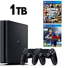SONY PS4 SLİM 1TB OYUN KONSOLU + 2. KOL + PS4 PES 18 + PS4 GTA 5