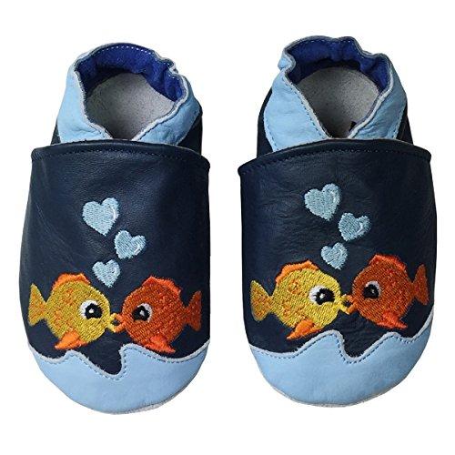 PantOUF Scarpe per bimbo in pelle morbida-Scarpine Neonato in Pelle - Scarpe Primi Passi - Scarpette Neonato Blu con i pesci