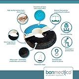 Bonmedico® Orthopädisches Hämorrhoiden-Sitzkissen mit innovativer Gel-Beschichtung, wirkt schmerzreduzierend, sorgt für eine gerade Körperhaltung und Steißbein-Entlastung, geeignet für Auto, Sofa, Office- & Rollstuhl sowie Reisen, in Schwarz/ Black - 2