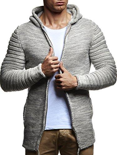 LEIF NELSON Herren Kapuzenpullover Hoodie Strickjacke Pullover Sweatjacke Zipper Sweatshirt Strick LN20731; Größe M, Grau-Ecru