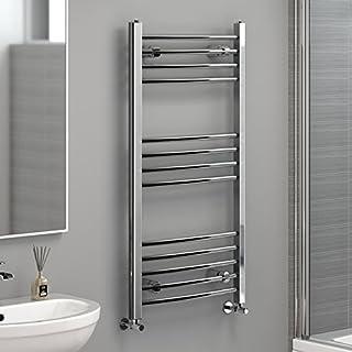 iBathUK | 1000 x 500 Curved Heated Towel Rail Chrome Bathroom Radiator