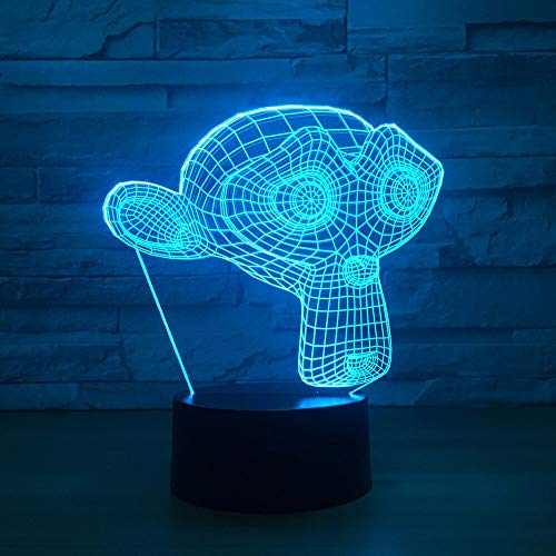 Llzgpzxyd usb 7 colori cambia 3d led creativo viso lungo scimmie forma scrivania lampada animale notte luce camera da letto sonno decorazioni light fixture regali