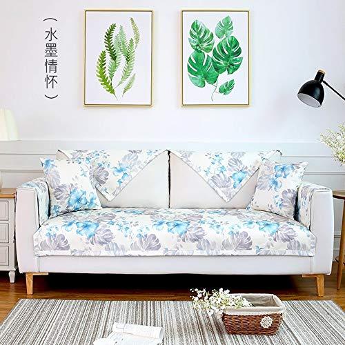 Preisvergleich Produktbild Samt rutschfeste wasserdichte Sofakissen wasserdicht verschleißfesten Sofakissen Sofa 3 Stück Set Anti-Biss-Decke Tinte Gefühle 110 * 240