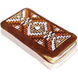 LINCARA® Apple iPhone 5 (5s & 5c) - Luxus Tasche / Handy Hülle / Schutzhülle / Case / Etui mit SWAROVSKI Elements (kein Strass / Bling Bling / Glitzer), Design Spirit, Leder Braun & Gold