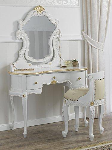 Conjunto tocador, mesa, silla y espejo. Color blanco y adornos dorados.