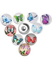 Souarts Mixte Bouton à Pression pour Bracelet Papillon Rond Multicolore Lot de 12pcs