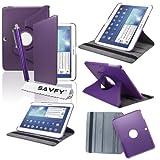 SAVFY Housse Etui Luxe Cuir Rotatif pour Samsung Galaxy Tab 3 10.1' + STYLET + FILM D'ECRAN OFFERTS! - 3en1 Etui de protection Pochette Stand Coque Samsung Galaxy Tab 3 10.1' P5200 / P5210 / P5220 / GT-P5210ZWAXEF Tablet PU Cuir Style avec fonction Support - Housse avec rotation à 360°Multi Angle Samsung Galaxy Tab 3 10.1 Pouces - Violet