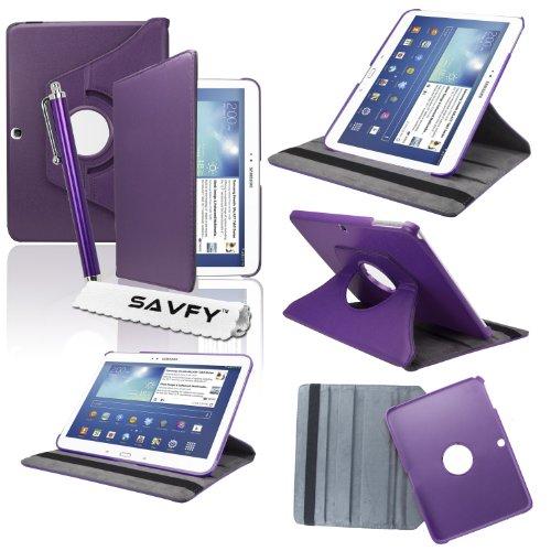 """SAVFY® Housse Etui Luxe Cuir Rotatif pour Samsung Galaxy Tab 3 10.1"""" + STYLET + FILM D'ECRAN OFFERTS! - 3en1 Etui de protection Pochette Stand Coque Samsung Galaxy Tab 3 10.1"""" P5200 / P5210 / P5220 / GT-P5210ZWAXEF Tablet PU Cuir Style avec fonction Support - Housse avec rotation à 360°Multi Angle Samsung Galaxy Tab 3 10.1 Pouces - Violet"""