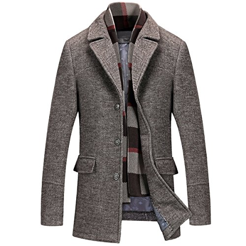 Mirecoo Herren warm Wollmantel Kurzmantel Winter Jacke Business