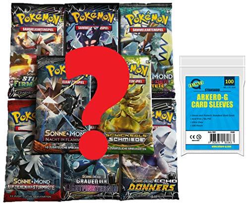 Pokemon Karten Mystery Set: 5 zufällige gemischte Booster Packs DEUTSCH + 100 Arkero-G Standard Soft Sleeves Kartenhüllen (Pokemon Billige Karten)