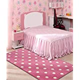 Littlelooms Pink Polka Rug & Carpet Baby Multifuntional Mat for Baby Play Room Home Decor for 0-12 Years 3 X 5 (Feet)