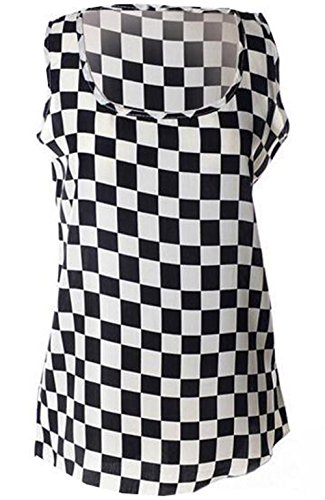Gogofuture Été Vest Femme Beau Top sans Manches Débardeur Floral T-Shirt Blouses Longue Leger Gilet Tendance Black1