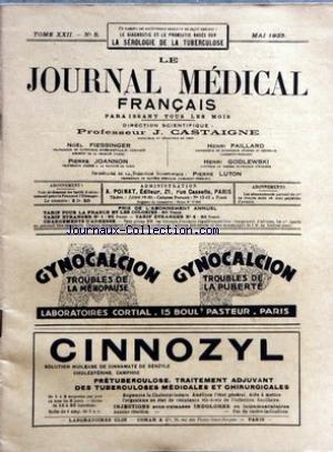 JOURNAL MEDICAL FRANCAIS (LE) [No 5] du 01/05/1933