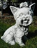 Beton Figur Yorkshire Terrier sitzend klein H 26 cm Dekofigur und Gartenfigur