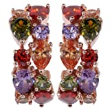 Yazilind Dazzling Gold Plated Round Pear Cut Colorful Cubic Zirconia CZ Flawless Stud Earrings