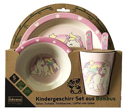 Idena 40121 - Vajilla infantil (bambú), diseño de unicornio, color rosa