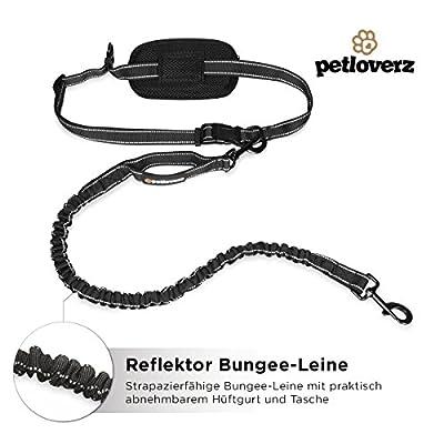 Hunde Joggingleine/Laufleine mit verstellbarem Hüftgurt | Leine zum handfreien Laufen/Fahrrad fahren | elastische Bungee Leine mit Reflektoren für Hunde bis 60kg | zusätzliche Tasche für Handy und Schlüssel etc. | Nylon | schwarz | super zum Laufen, Jogge