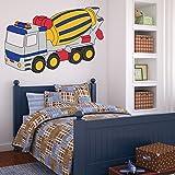 denoda Betonmischer - Wandtattoo 38 x 25 cm (Wandsticker Wanddekoration Wohndeko Wohnzimmer Kinderzimmer Schlafzimmer Wand Aufkleber)