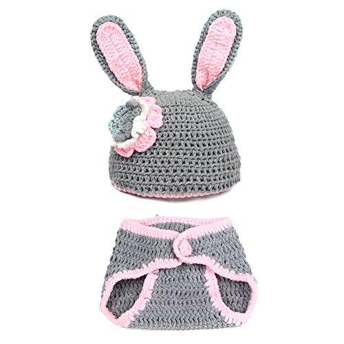 Imagen de mioim® bebé recién nacido infantil lindo conejo hecha a mano de ganchillo del bebé conjunto sombrero ropa disfraz fotografía memorias regalo gris
