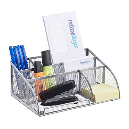 Relaxdays Schreibtischorganizer 5 Ablagen, kleiner Büroorganizer, Metallgeflecht, Stifteköcher, Briefablage, silber
