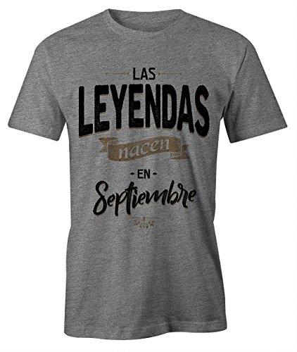 Las Leyendas Nacen en Septiembre Camiseta de Cumpleaños Hombres Gris X-Large