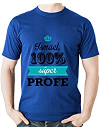 Calledelregalo Regalo Para Profesores Personalizable: Camiseta SuperProfe Personalizada con su Nombre (Azul