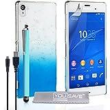 Yousave Accessories Regentropfen SchutzHülle Cover mit Stylus Pen und Micro-USB Kabel für Sony Xperia Z3, blau/transparent