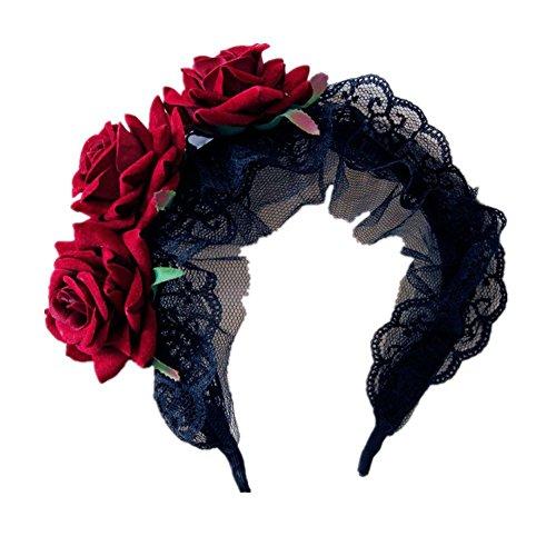 TOOGOO(R) Joya de chica del sirviente del estilo gotico Banda de cabeza rosa roja Banda de pelo Decoraciones de Navidad Festival (Rojo /Rosa)