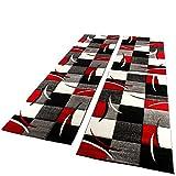 PHC Bettumrandung Läufer Teppich Modern Karo Rot Grau Schwarz Weiss Läuferset 3 Tlg, Grösse:2mal 60x110 1mal 80x300