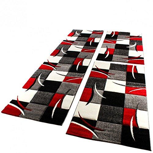 Set De 3 Alfombras Para Dormitorio - A Cuadros - Rojo Gris Negro Blanco, Grösse:2mal 80x150 1mal 80x300