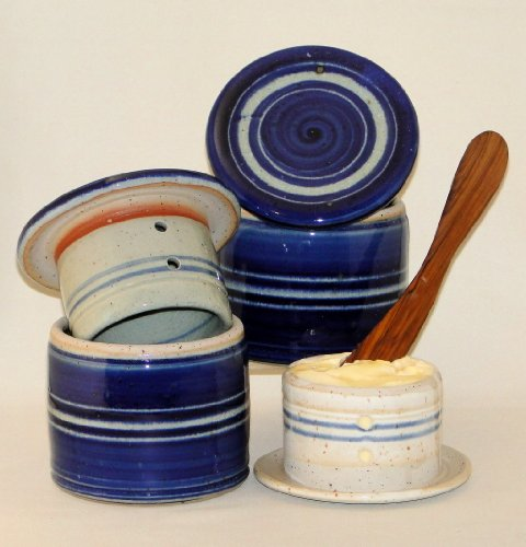 Original französische wassergekühlte keramik butterdose, keine harte butter zum frühstück, ca 250 g butter, c3 zyl groß Original Keramik