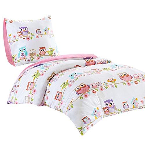 SCM Kinder Bettwäsche 135x200cm Eule 100% Baumwolle Renforcé 2-teilig Bettbezug Kopfkissenbezug 80x80cm Mädchen Jugendliche Teenager Einzelbett Owl Weiß Rosa Bunt