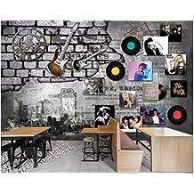BHXINGMU Murales Personalizados Estilo De Pared De Ladrillo De Registro De Música Rock Vintage Papel Tapiz