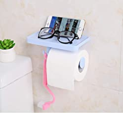 Buyerzone Multi-Functional Tissue Roll Toilet Paper/Towel/Key Holder with Mobile/Soap/Pot Shelf Rack (Multi Color)