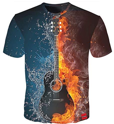 T Shirt Kurzarm 3D Druck Weltkarte Coloful Rundhals Gitarre Kurzes Paare Unisex T-Shirt Tees Blau ()