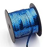 Rond Paillettes Robe de costume de couture à plat pour Embellir Coupez Sequins Ficelle à coudre Tissu Craft Connexion 90m/Rouleau 90m bleu saphir